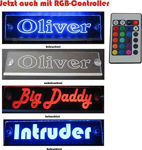 Trucker LKW Namensschild - LED Acryl Leuchtschild  RGB 12V 24V edle Lasergravur