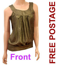 New Ladies Sleeveless Gold Tops. Free Postage For Ladies Sleeveless Gold Top.