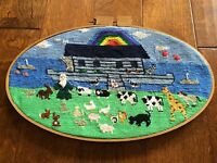 """*Noah's Ark completed cross stitch Large Oval 21""""x13"""" Needlework embroidery"""
