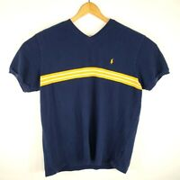 Vintage 90s Polo by Ralph Lauren Mens Size XL Blue Thick Stripes VNeck Shirt