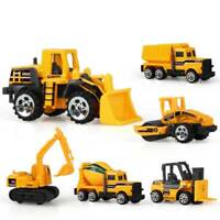 6pcs Mini Diecast Alloy Construction Car Truck Engineer Dump Model Kid Toys Set