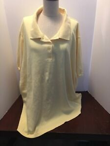Woman Within Pullover Polo Tunic Top Short Sleeves Beautiful Butter Yellow 4X