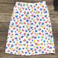 Vintage Margaret Smith Gardener Maine White Floral Midi Skirt Size M Medium USA