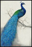 Peacock Blue I - Chart Counted Cross Stitch Pattern Needlework Xstitch craft DIY
