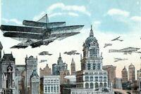 Future New York City of Skyscrapers NYC Fantasy Planes RARE NO BLIMP Postcard CM