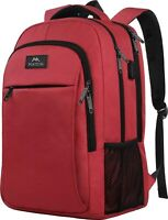 "Matein Men's Red 15.6"" Anti-Theft Travel Laptop Backpack School Bag USB Port"