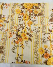 """Vintage Fabric 5 Remnants 45"""" x 11"""" Medium Weight Yellow & Brown Flowers 60s 70s"""