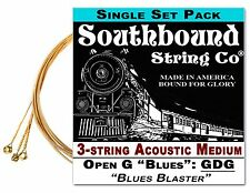 Cigar Box Guitar String Set: 3-string Acoustic Medium Low Open G GDG - 34-10-01