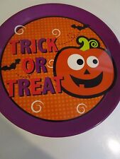 """HALLOWEEN TRICK OR TREAT SERVING TRAY WITH PUMPKIN DECAL PARTY PLATTER 14"""" NWT"""
