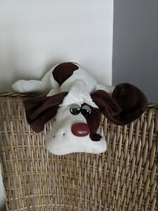 "Vintage 1985 Tonka Pound Puppy Puppies Dog Plush Large 18"" White W/ Brown Spots"