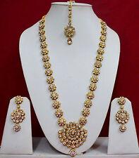 Wedding Indian CZ  Long Rani Haar Jewelry Necklace Earrings Bridal Sets f37n37