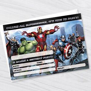 Avengers Birthday Party Invitations - Marvel Avengers Kids Party Invites