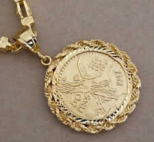 Men's Large Yellow Gold Plated Centenario Coin Charm & Roman Link Chain 30in Set