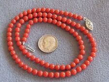 """18.5"""" Vintage Natural Italian Tomato Red Coral Bead Necklace S/S 15.7 gms 5mm"""