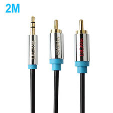 2M/6.6Ft 3.5mm Male to 2RCA Male Stereo Aux  Audio Cable for Smartphone