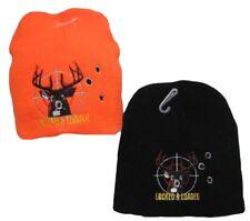 "8"" Lock & Loaded Deer Hunting Hunter Orange Embroidered Beanie Skull Cap Hat 901"