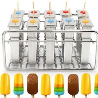 Stainless Steel Mold Pop Ice Lolly Maker Frozen Mould Popsicle Flat Double Slot