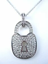 "with Swarovski Crystals 16-18"" 0832 D'Orlan Rhodium Plated Large Lock Pendant"