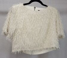 Garcia Glitter Fringed White Crop Top Size M