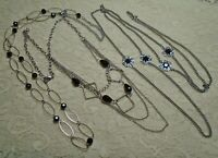 VINTAGE TO NOW BLACK BEADED SILVER TONE CHAIN LAYERING NECKLACE LOT