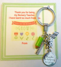 Thank you for helping me Grow Gift Teacher or Nursery Teacher Key Ring +Charms