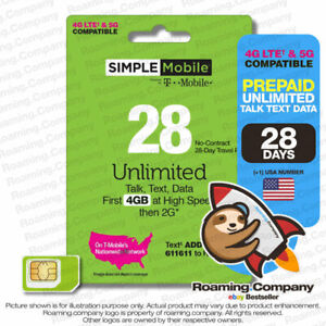 🚀 USA 28DAY $20 UNLIMITED DATA CALL TEXT Prepaid Travel SIM Card Hotspot 5G 4G