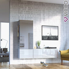 VICCO Garderobenset Flur Schuhschrank Diele Lifestyle Spiegel - Hochglanz Weiß