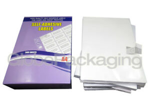 A4 SHEETS OF QUALITY SELF ADHESIVE STICKY LABELS - LASER INKJET PRINTERS COPIERS