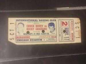 ORIGINAL FULL ON SITE TICKET ROCKY GRAZIANO V CHUCK DAVEY 1952 CHICAGO