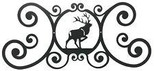 """Elk Indoor Outdoor Over Door House Sign Black Wrought Iron Handmade in USA 24"""""""