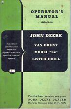 John Deere Vintage Van Brunt Lz Lister Drill Operators Manual Jd