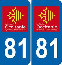 2 Stickers autocollant plaque immatriculation Auto 81 Occitanie - LogoType