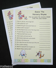 GUESS THE NURSERY RHYME - 20 CARDS INCLUDED - BABY SHOWER GAME