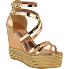 Wedge High Heel Summer Sandals Womens Ladies Platfrom Espadrilles Ankle Lace Tie