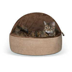 K&H Pet Products Self-Warming Kitty Bed Hooded LG Choco/Tan