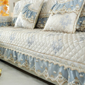 European Lace Quilted Linen Jacquard Sofa Cover Non Slip Couch Slipcover 3Seater