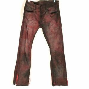 Levis 513 Jeans Red Black Tie Dye Size 18 grunge Boys Distressed Skate Punk OOAK