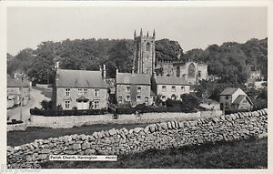 Postcard Hartington near Matlock Derbyshire view of  Parish Church and houses RP