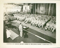WWII 1940s US Navy Official Photo Co Aircraft Carrier Christmas Day sermon