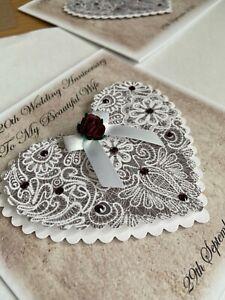 Personalised 3D Heart Wedding Anniversary Card Handmade Mum Dad Husband Wife