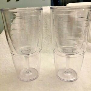Pair of TERVIS Wine Glass inside Tumbler 16 oz. No Sweat Insulated New Never Use