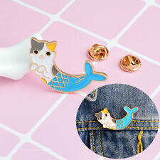 Enamel Mermaid Cat Brooch Pins Shirt Collar Pin Breastpin Women Jewelry Gift