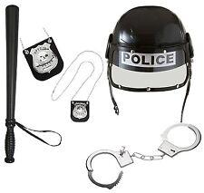 Adult Police Officer Hard Plastic Police Helmet with Visor Badge Truncheon Cuffs