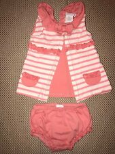baby girls top and bottom outfit salmon colored piper and posie size 9 months H4