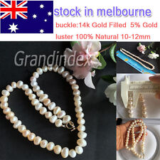 100% natural freshwater 10-12mm Baroque pearl necklace 46cm length GOOD luster