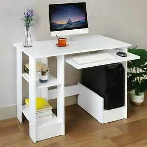 Computer Desk Laptop PC Writing Study Table with Book Shelf Home Office Desks