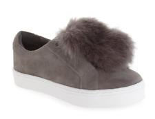 Sam Edelman Leya Faux Fur Women's Grey Laceless Sneaker Sz 10M 1288