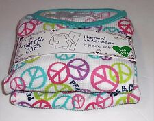Total Girl Two (2) Piece Peace Print Thermal Underwear Multi-Color L/10-12 NWT