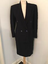 Vtg Missoni Donna Women's Virgin Wool Navy Blue Knit 2-Piece Skirt Suit Size M