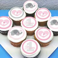 "Cute Elephant Edible Icing Cupcake Toppers - 2"" - PRE-CUT - Sheet of 15"